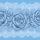 Seamless pattern with dotted rose in black with leaves on the blue background with white lace. Royalty Free Stock Photo