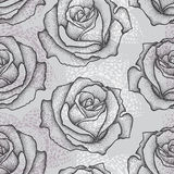 Seamless pattern with dotted rose flower in black on the gray. Floral background in dotwork style Royalty Free Stock Images