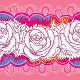 Seamless pattern with dotted rose flower and decorative lace on the pink background. Royalty Free Stock Photo