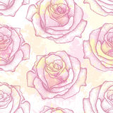Seamless pattern with dotted rose flower in pink on the background with blots in pastel colors. Floral background in dotwork style Stock Image