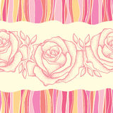 Seamless pattern with dotted rose flower in pink on the background with colorful stripes. Royalty Free Stock Photography