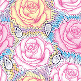 Seamless pattern with dotted rose flower in pink and decorative lace in pastel colors. Royalty Free Stock Photos