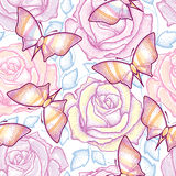 Seamless pattern with dotted roses, blue leaves and butterflies in pastel color on the white background. Stock Photos