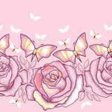 Seamless pattern with dotted roses, leaves and butterflies in pastel color on the pink background. Stock Photos