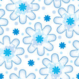 Seamless pattern with dotted snowflake in blue and blots. Traditional winter background. Stock Photography