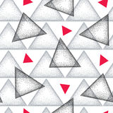 Seamless pattern with dotted triangle in black, gray and red on the white background. Vector abstract triangle background. Stock Photo