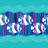 Seamless pattern with dotted white fish and waves Stock Images