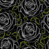 Seamless pattern with dotted white roses and green leaves on the black. Stock Photo