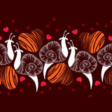 Seamless pattern with dotted white snails and orange and red hearts Royalty Free Stock Photos