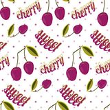 Seamless pattern with double cherry on twig with leaves and text- sweet cherry. stock illustration