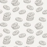 Seamless pattern of double cookies with a layer of cream, sweets or pastilles. Stock Photo