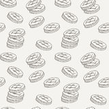 Seamless pattern of double cookies with a layer of cream, sweets or pastilles. Royalty Free Stock Image