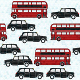 Seamless pattern with double-decker buses and London taxi under Royalty Free Stock Photo