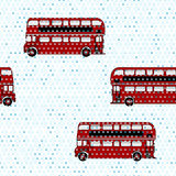 Seamless pattern with double-decker buses under the rain Stock Photos