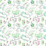 Seamless pattern of a dove,clock,boat,envelope, airplane, parcel,cactus, letter and floral. vector illustration