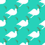 Seamless pattern. Dove holding a branch. Royalty Free Stock Photography