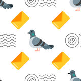 Seamless pattern with dove and letter. royalty free illustration