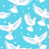 Seamless pattern doves in blue sky. Vector illustration Royalty Free Stock Photography