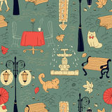 Seamless pattern in draft style Stock Images