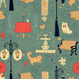 Seamless pattern in draft style Stock Photos