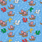 Seamless pattern with dragon attacking viking ships Stock Photos