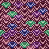 Seamless pattern dragon fish scales simple seamless pattern Nature background with japanese wave circle pattern dark brown burgund. Y maroon green blue purple Royalty Free Stock Photography