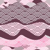 Seamless pattern dragon fish scales simple Nature background with japanese wave circle pattern dark brown burgundy maroon pink bac. Kground. Vector illustration royalty free illustration