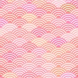 Seamless pattern dragon fish scales simple seamless pattern Nature background with japanese wave circle pattern pastel colors on l. Ight orange pink background Stock Image