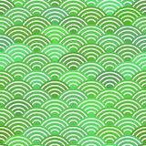 Seamless pattern dragon fish scales simple seamless pattern Nature background with japanese wave circle pattern pastel colors on g. Reen background. Vector Stock Photography