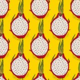 Seamless Pattern with Dragon Fruit or Pitaya. In Cross Section on a Yellow Background Stock Images