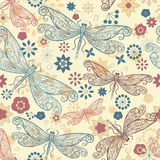 Seamless pattern with  dragonflies. Seamless pattern with flying  dragonflies and flowers Stock Photography