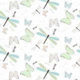 Seamless pattern with dragonflies and butterflies. Illustration of seamless pattern with abstract colorful dragonflies and butterflies royalty free illustration