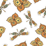 Seamless pattern with dragonflies and flowers Stock Photography
