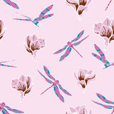 Seamless pattern with dragonflies and magnolias Stock Images