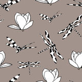 Seamless pattern with dragonflies and magnolias Royalty Free Stock Images