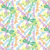 Seamless pattern with dragonflies pastel color on white background. Perfect for textiles and wrapping paper Stock Photo