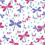 Seamless pattern dragonflies. Seamless pattern with dragonflies and rain drops Stock Photo