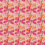 Seamless pattern with dragonflies-1. Seamless pattern with dragonflies and rain drops Stock Images