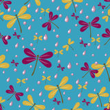 Seamless pattern with dragonflies. And rain drops Stock Photos