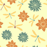 Seamless pattern with dragonflies and water flowers Stock Photos