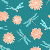 Seamless pattern with dragonflies and water flowers Royalty Free Stock Photos