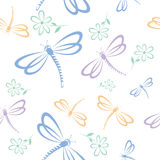 Seamless pattern with dragonfly and flower Royalty Free Stock Images