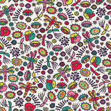 Seamless pattern with dragonfly, hearts and flora. Stock Images