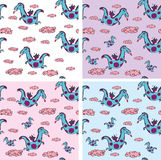 Seamless pattern with dragons Stock Images