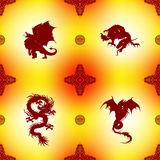 Seamless Pattern with dragons and oriental ornaments Royalty Free Stock Photography
