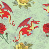 Seamless pattern with dragons and roses Stock Photos