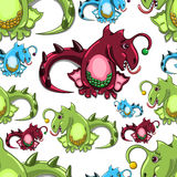Seamless pattern with dragons Royalty Free Stock Image