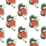 Seamless pattern with dragons on a white background.- vector  Royalty Free Stock Photos