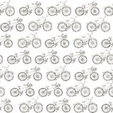 Seamless pattern drawing bicycles. Vector sketch seamless pattern drawing bicycles Stock Images