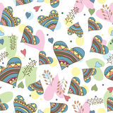 Seamless pattern of drawing doodle hearts Royalty Free Stock Photos